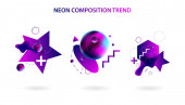 Set modern geometric space lines retro neon volume abstract set violet banner trend art hipster style white background