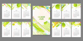 Separate pages Calendar 2020 ecology poster triangle vector futuristic light minimal geometric hipster white background Green and yellow lines and points natural