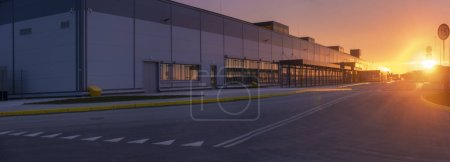 Photo for Logistics Center in the Light of the rising sun - Royalty Free Image