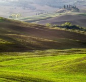 scenic view of Tuscan landscape at sunrise, Pienza, Italy