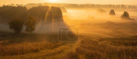 Photo pour Lever de soleil brumeux sur les prairies et les champs automnaux - image libre de droit