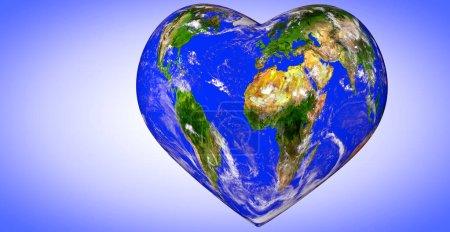 Photo pour Planète terre en forme de cœur, illustration 3D - image libre de droit