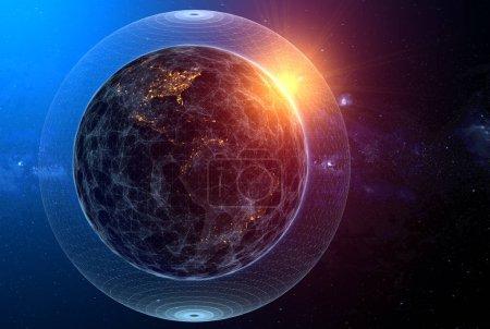 Photo pour Concept de réseau global, le soleil levant sur la planète terre - image libre de droit
