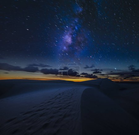 Photo for Starry night sky over the desert - night landscape - Royalty Free Image