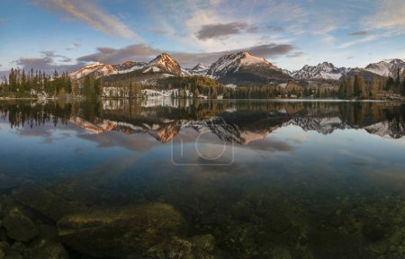 Photo for Winter panorama of the mountain lake Strbske pleso in Slovakia - Royalty Free Image