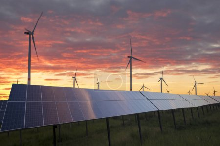 Photo for Photovoltaic panels and wind turbines-the concept of renewable energy sources - Royalty Free Image