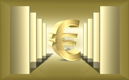 Symbol, logo eurocurrency in 3d on the stage
