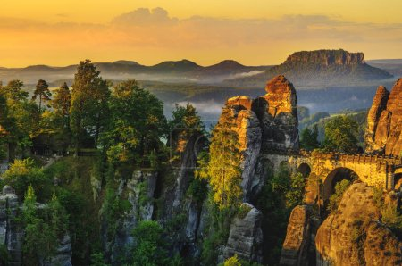 Photo for The Bastei bridge, Saxon Switzerland National Park, Germany - Royalty Free Image