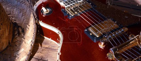 Photo pour Electric guitar on the wooden board behind the glass with water drops - image libre de droit
