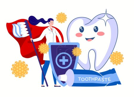 Photo pour A dental hygienist, a hero in a red cloak with a toothbrush and toothpaste, stands guard for the health and beauty of teeth. Protection against bacteria. Dental hygiene concept. Vector flat cartoon illustration. - image libre de droit