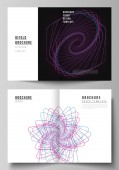 Vector layout of two A4 format cover mockups design templates for bifold brochure flyer report Random chaotic lines that creat real shapes Chaos pattern abstract texture Order vs chaos concept