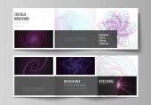 Vector layout of two square format covers design templates for trifold square brochure flyer Random chaotic lines that creat real shapes Chaos pattern abstract texture Order vs chaos concept