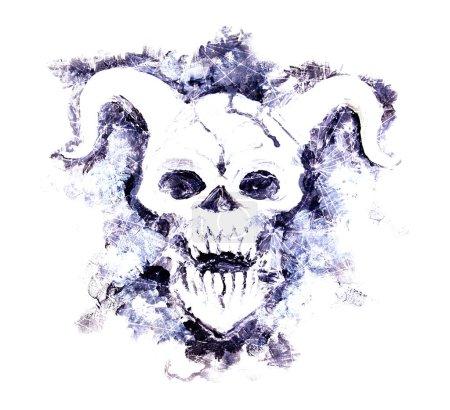 Photo pour Silhouette mystique du diable avec les étoiles et les modèles cosmiques sur blanc. Symbole de la mort, le concept de magie noire. Occultisme, ésotérisme et illustration de l'Halloween - image libre de droit