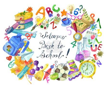 Foto de Collage del concepto de escuela con el estudio de objetos y texto Bienvenido regreso a la escuela en blanco. Volver a escuela de acuarela Ilustración, 1 de septiembre y el concepto de día de conocimiento, doodle dibujos - Imagen libre de derechos