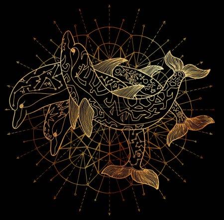Photo pour Trois dauphins d'or et motif de cercle rond sur fond noir. Ésotérique, occulte, new âge et wicca concept, illustration de fantasy avec des symboles mystiques et géométrie sacrée - image libre de droit
