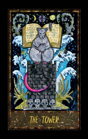 Photo for Tower. Major Arcana tarot card. The Magic Gate deck. Fantasy graphic illustration with occult magic symbols, gothic and esoteric concept - Royalty Free Image