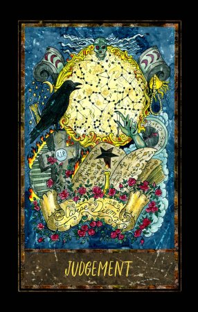 Photo for Judgement. Major Arcana tarot card. The Magic Gate deck. Fantasy graphic illustration with occult magic symbols, gothic and esoteric concept - Royalty Free Image