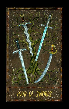 Photo for Four of swords. Minor Arcana tarot card. The Magic Gate deck. Fantasy graphic illustration with occult magic symbols, gothic and esoteric concept - Royalty Free Image