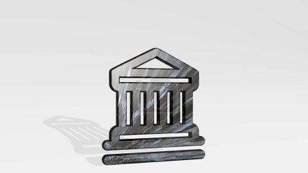 Photo pour Bâtiment officiel réalisé par illustration 3D d'une sculpture métallique brillante jetant l'ombre sur fond clair. drapeau et bannière - image libre de droit