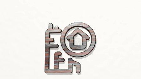 Photo pour Maison de recherche immobilière d'un point de vue sur le mur. Une sculpture épaisse faite de matériaux métalliques de rendu 3D. illustration et contexte - image libre de droit