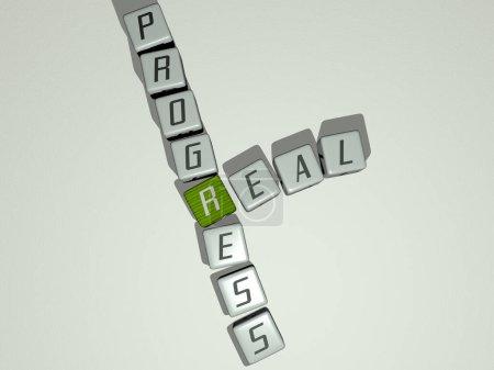 Photo pour Combinaison de progrès réels construits par des lettres cubiques du point de vue du haut, excellent pour la présentation du concept. domaine et maison - image libre de droit