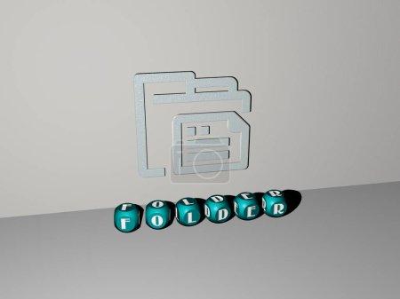 3D-Grafik von FOLDER vertikal zusammen mit Text aus metallischen kubischen Buchstaben aus der Perspektive von oben, hervorragend für die Konzeptpräsentation und Diashows. Illustration und Geschäft