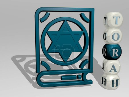 3D graphical image of torah vertically along with text built around the icon by metallic cubic letters from the top perspective. excellent for the concept presentation and slideshows. jewish and illustration