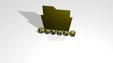 3D-Darstellung von FOLDER mit Icon an der Wand und Text, angeordnet durch metallische kubische Buchstaben auf einem Spiegelboden für Konzeptbedeutung und Diashow-Präsentation. Illustration und Geschäft