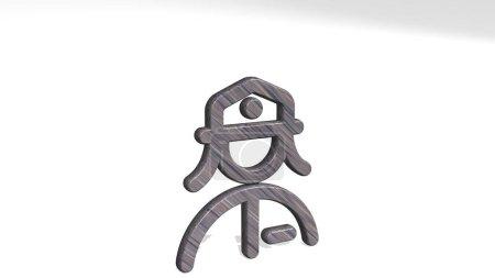 profesiones mujer post proyectando sombra desde una perspectiva. Una gruesa escultura hecha de materiales metálicos de renderizado 3D. ilustración e icono