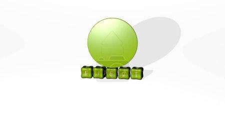 Photo pour Illustration 3D des graphiques EJECT et du texte réalisé par des dés métalliques pour les significations connexes du concept et des présentations. icône et bouton - image libre de droit