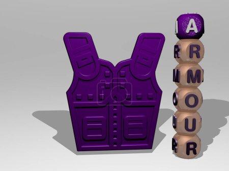 Photo pour Représentation 3D d'ARMOUR avec icône sur le mur et texte arrangé par des lettres cubiques métalliques sur un plancher miroir pour la signification du concept et la présentation du diaporama. illustration et armure - image libre de droit