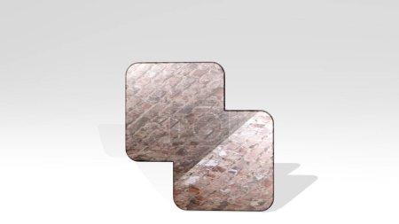 Photo pour Pathfinder exclut la projection d'ombre d'un point de vue. Une sculpture épaisse faite de matériaux métalliques de rendu 3D - image libre de droit