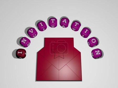 Representación 3D de la INVITACIÓN con icono en la pared y texto dispuesto por letras cúbicas metálicas en un piso espejo para el significado del concepto y presentación de diapositivas. ilustración y fondo