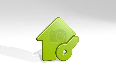 Photo pour Immobilier action maison clé d'une perspective avec l'ombre. Une sculpture épaisse faite de matériaux métalliques de rendu 3D. illustration et contexte - image libre de droit