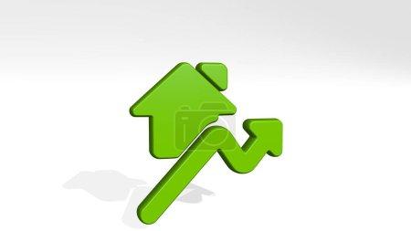 Photo pour Immobilier market house rise réalisé par illustration 3D d'une sculpture métallique brillante avec l'ombre sur fond clair. concept et construction - image libre de droit