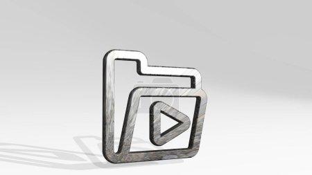 FOLDER MEDIA ist eine 3D-Illustration einer metallisch glänzenden Skulptur, die Schatten auf hellem Hintergrund wirft. Geschäft und Ikone
