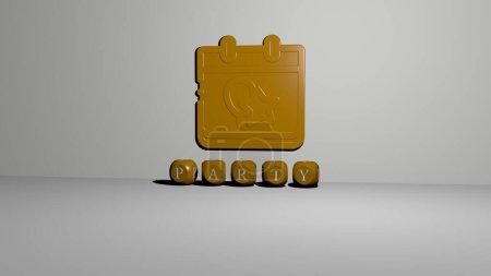 Photo pour Image graphique 3D de la fête verticalement avec texte construit par des lettres cubiques métalliques du point de vue du haut, excellent pour la présentation du concept et des diaporamas. illustration et contexte - image libre de droit