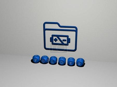 3D-Illustration von Ordnergrafiken und Text aus metallischen Würfelbuchstaben für die damit verbundenen Bedeutungen des Konzepts und der Präsentationen. Wirtschaft und Hintergrund