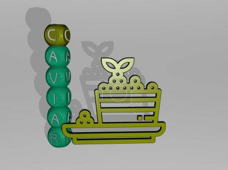 3D-Illustration von Kaviar-Grafiken und Text rund um das Symbol, hergestellt durch metallische Würfelbuchstaben für die damit verbundenen Bedeutungen des Konzepts und der Präsentationen. Hintergrund und Sushi