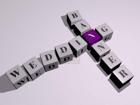 Photo pour Combinaison de bannière de mariage construite par des lettres cubiques du point de vue supérieur, excellent pour la présentation du concept. contexte et illustration - image libre de droit