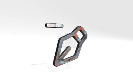 Foto de Vectores pluma restar sombra de fundición con dos luces. Ilustración 3D de la escultura metálica sobre un fondo blanco con textura suave. diseño y patrón - Imagen libre de derechos