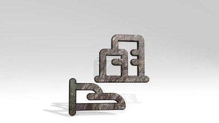 Photo pour BÂTIMENT D'ASSURANCE IMMOBILIER réalisé par illustration 3D d'une sculpture métallique brillante projetant de l'ombre sur fond clair. maison et concept - image libre de droit