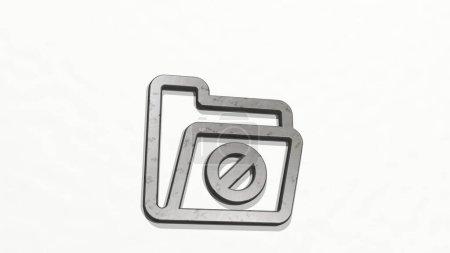 FOLGENDEBAR aus der Perspektive an der Wand. Eine dicke Skulptur aus metallischen Materialien im 3D-Rendering. Illustration und Geschäft