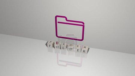 FOLGER Text aus Würfelbuchstaben auf dem Boden und 3D-Symbol an der Wand. 3D-Illustration. Wirtschaft und Hintergrund