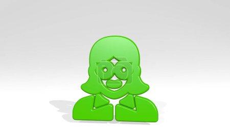 profesiones mujer oficina 3D icono de fundición sombra. Ilustración 3D. conjunto y la gente