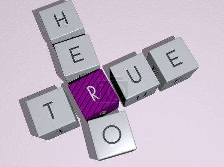 Photo pour TRUE HERO mots croisés par des dés cubes. Illustration 3D. contexte et concept - image libre de droit