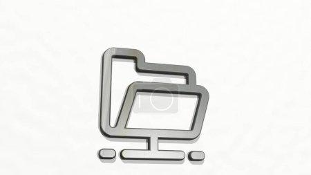 FOLDER HOLD 3D-Symbol an der Wand - 3D-Illustration für Geschäft und Hintergrund