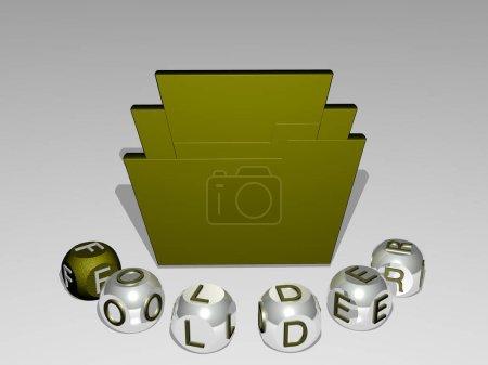 Ordner runder Text kubischer Buchstaben um 3D-Icon - 3D-Illustration für Geschäft und Hintergrund