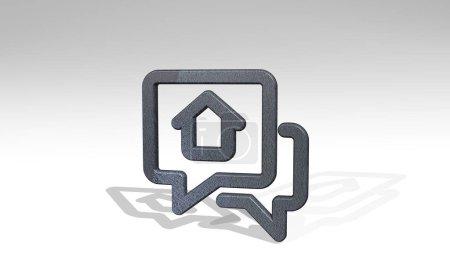 Photo pour MESSAGE IMMOBILIER CHAT HOUSE icône 3D debout sur le sol illustration 3D pour l'arrière-plan et le concept - image libre de droit