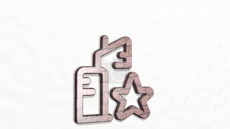Photo pour REAL ESTATE ACTION BUILDING STAR icône 3D sur le mur - Illustration 3D pour la maison et l'arrière-plan - image libre de droit